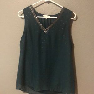 Beautiful dark green sparkle top and beaded top